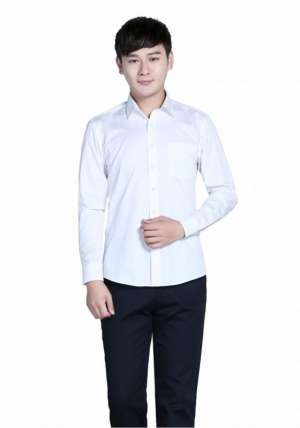全棉白色正常款长袖衬衫